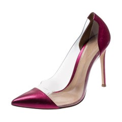 Gianvito Rossi Pink Leather And PVC Plexi Pointed Toe Pumps Size 40