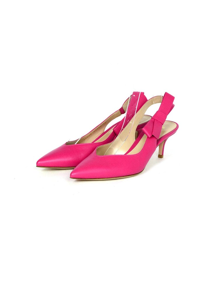 Gianvito Rossi Pink Leather Roma Fuxia Slingbacks w/ Bow sz 38  Made In: Italy Color: Pink Materials: Leather Closure/Opening: Slip on Overall Condition: Excellent pre-owned condition Estimated Retail: $745 + tax Includes: Two plain dustbags  Marked