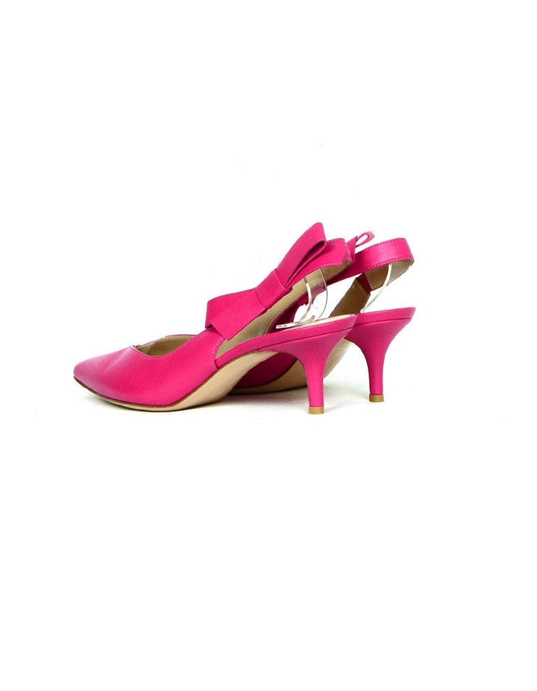 Gianvito Rossi Pink Leather Roma Fuxia Slingbacks w/ Bow sz 38 In Excellent Condition For Sale In New York, NY