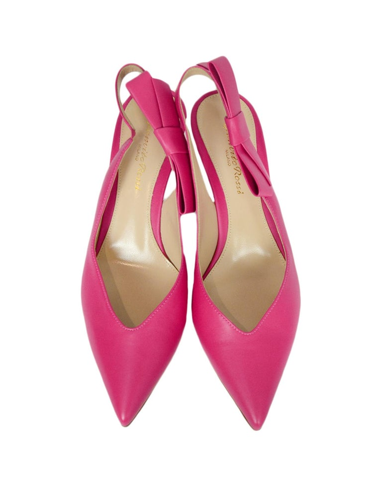 Women's Gianvito Rossi Pink Leather Roma Fuxia Slingbacks w/ Bow sz 38 For Sale