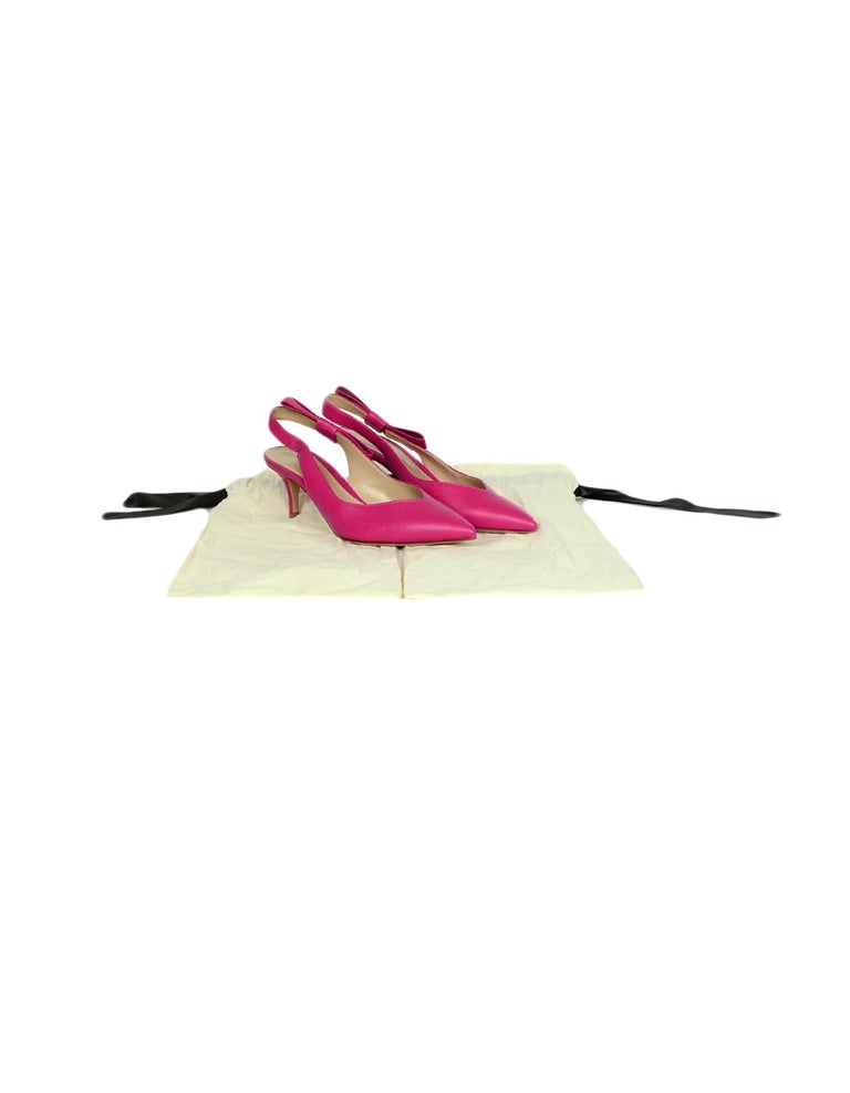 Gianvito Rossi Pink Leather Roma Fuxia Slingbacks w/ Bow sz 38 For Sale 2