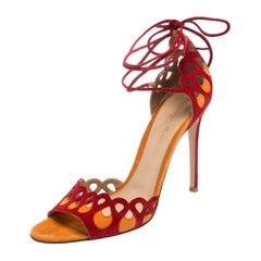 Gianvito Rossi Red/Orange Suede Samba Ankle Wrap Sandals Size 39