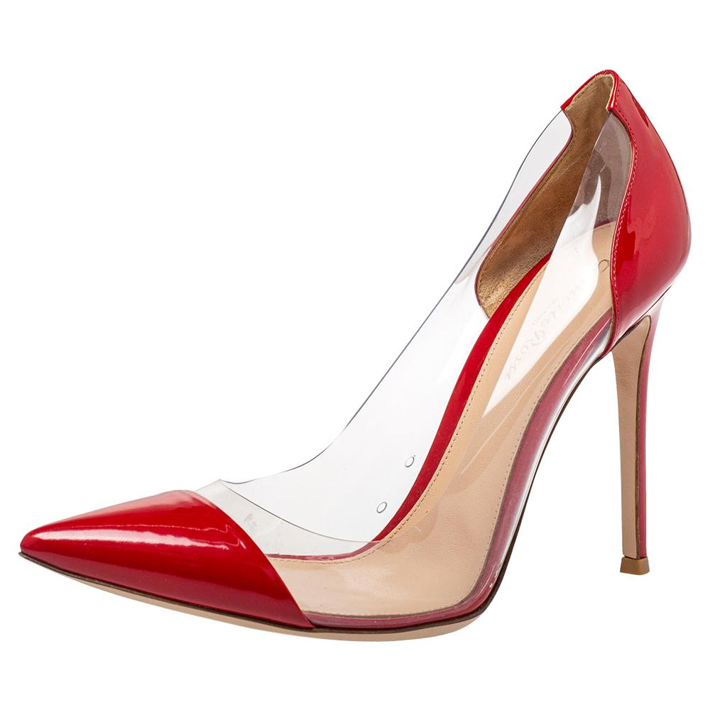 Gianvito Rossi Red Patent Leather And PVC Plexi Pointed Toe Pumps Size 40