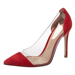 Gianvito Rossi Red Suede And PVC Plexi Pointed Toe Pumps Size 35