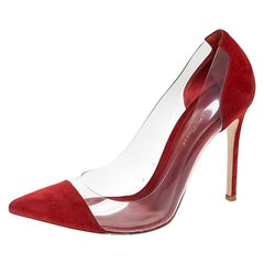Gianvito Rossi Red Suede And PVC Plexi Pointed Toe Pumps Size 38