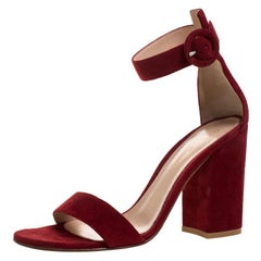 Gianvito Rossi Red Suede Leather Versilia Ankle Strap Sandals Size 37