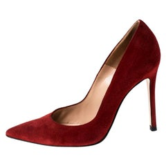 Gianvito Rossi Red Suede Pointed Toe Pumps Size 36