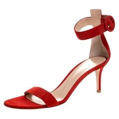 Gianvito Rossi Red Suede Portofino Ankle Strap Sandals Size 37