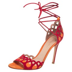 Gianvito Rossi Red/Yellow Suede Samba Ankle Wrap Sandals Size 39