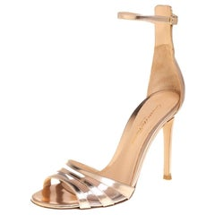 Gianvito Rossi Rose Gold Leather And PVC Ankle Strap Sandals Size 34