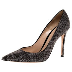 Gianvito Rossi Silver Crystal Embellished Suede Leather Lennox Pointed Toe Pumps