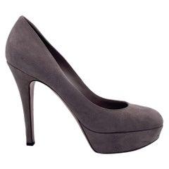 Gianvito Rossi Taupe Suede Platform Pumps Heels Size 38.5