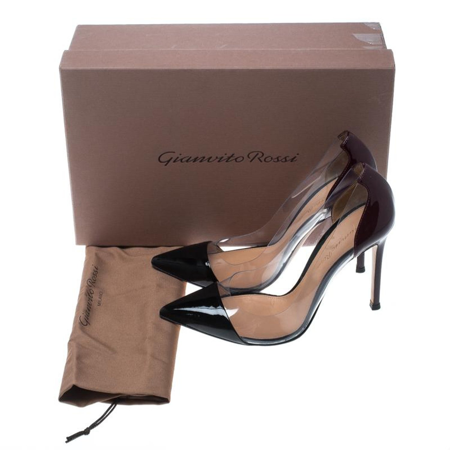 f67bab8b847 Gianvito Rossi Two Tone Patent Leather and PVC Plexi Pumps Size 36 at  1stdibs