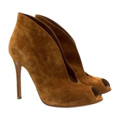Gianvito Rossi Vamp Open-Toe Suede Ankle Boots SIZE 38