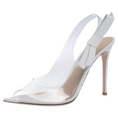 Gianvito Rossi White And PVC Valentina Peep Toe Slingback Sandals Size 40.5