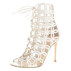 Gianvito Rossi White Cutout Leather Lace Up Peep Toe Sandals Size 37