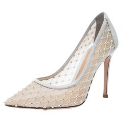 Gianvito Rossi White Lace And Leather Crystal Pointed Pumps Size 36.5