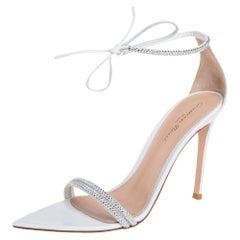 Gianvito Rossi White Leather Silk Montecarlo Sandals Size 38
