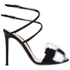 Gianvito Rossi Zoe Fur Trimmed Patent Leather Sandals