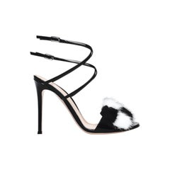 Gianvito Rossi Zoe Fur-Trimmed Patent-Leather Sandals