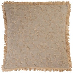 Giardino Open Nude Hand Embroidered Beige Linen Pillow Cover