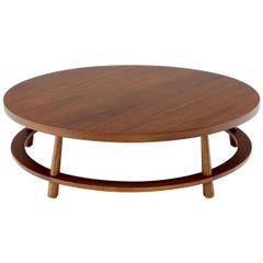 Gibbings for Widdicomb Large Round Walnut Mid-Century Modern Coffee Table