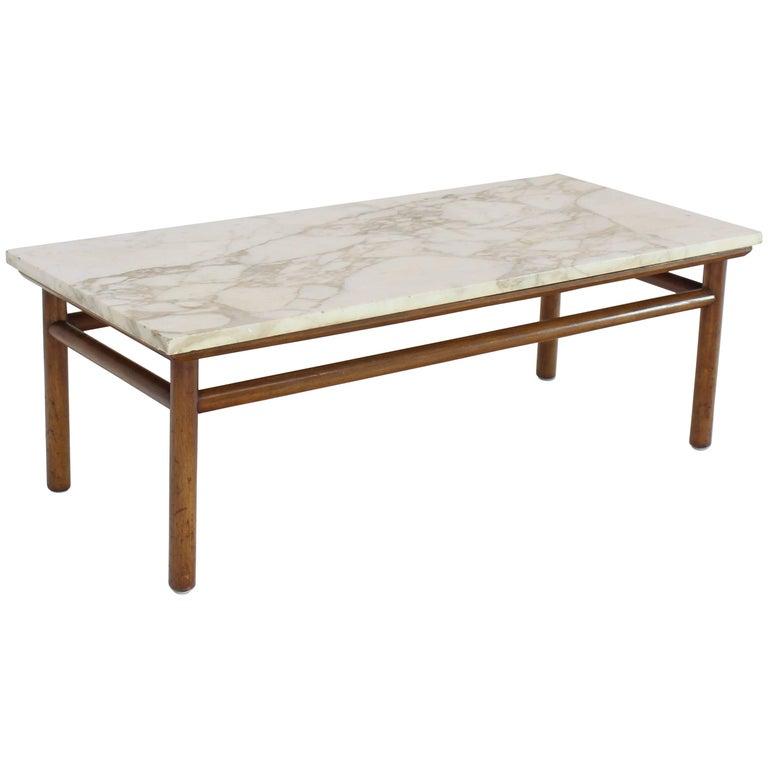 Harvey Probber Marble Top Rectangular Coffee Table W: Gibbings Widdicomb Walnut Dowel Base Marble-Top