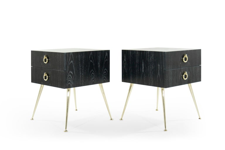 Mid-Century Modern Gibby Collection End Tables in Limed Oak For Sale