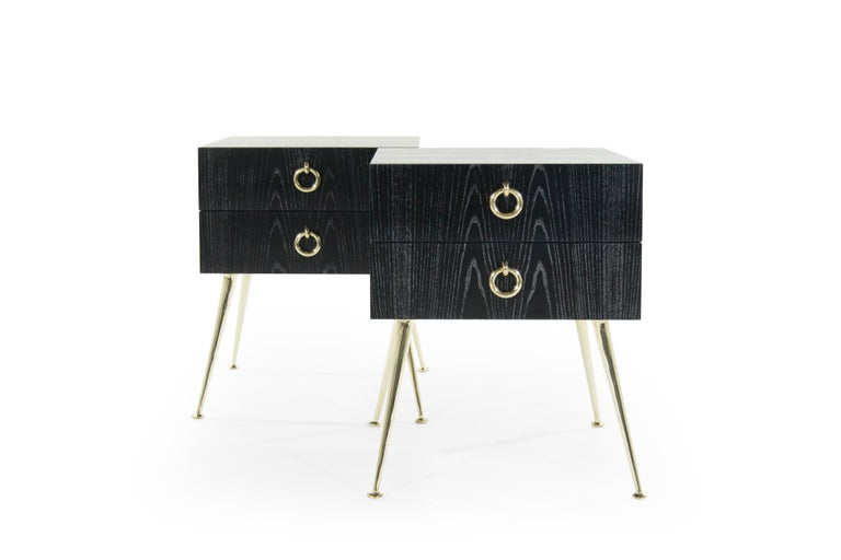 Contemporary Gibby Collection End Tables in Limed Oak For Sale