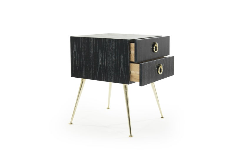 Brass Gibby Collection End Tables in Limed Oak For Sale
