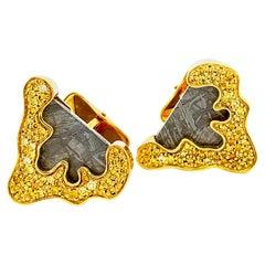 Gibeon Meteorite and Gold Cufflinks with Yellow Diamonds