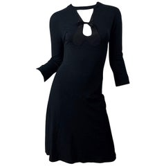Gibo Early 2000s Italian Made Size 40 Black Cut - Out 3/4 Sleeves Dress