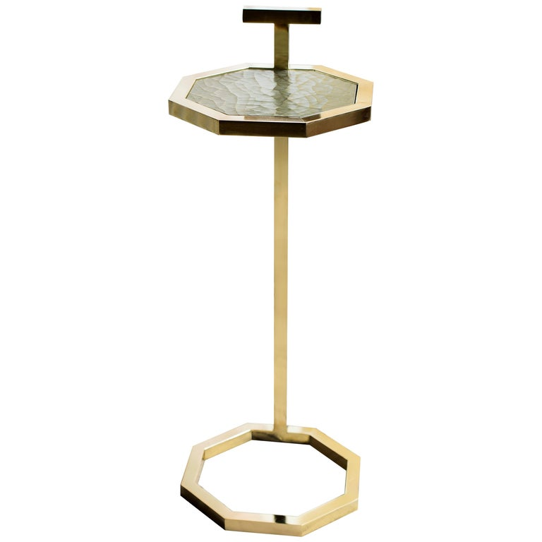 Gibson Martini Table in Brass Tinted Finish and Cracked Gesso Surface