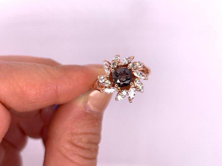 GIC Certified Natural Color Change Alexandrite White Diamond Ring 14K Rose Gold In New Condition For Sale In GREAT NECK, NY