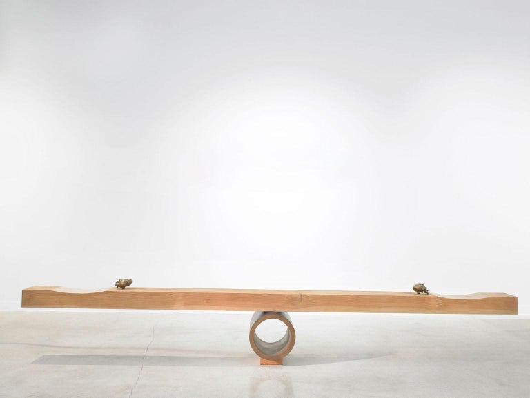 American Giddy Up See-Saw Bench Sculpture with Bronze Heart Handles by Vivian Carbonell For Sale