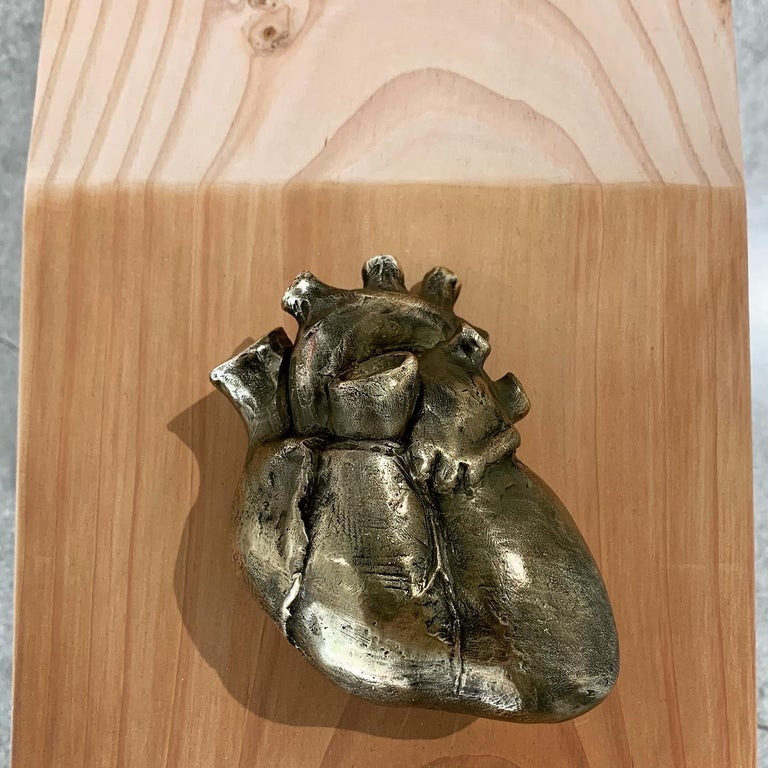 Contemporary Giddy Up See-Saw Bench Sculpture with Bronze Heart Handles by Vivian Carbonell For Sale