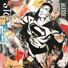 """""""Flying For Justice"""" Pop Art Portrait of Superman Colorful Street Art Painting"""