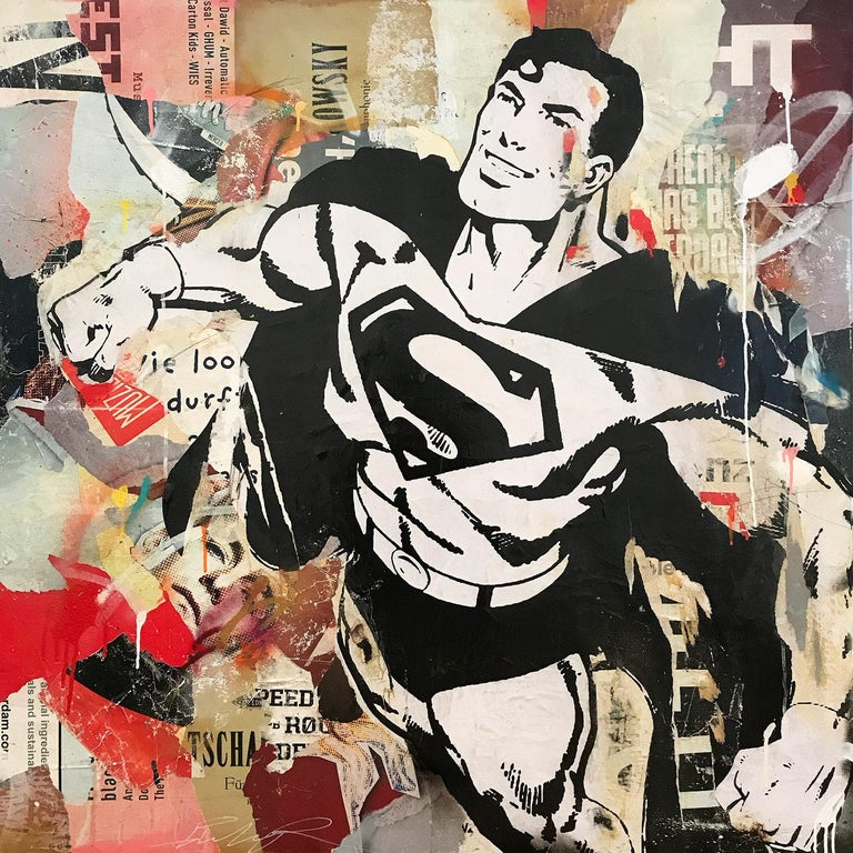 """Gieler Abstract Painting - """"Flying For Justice"""" Portrait of Superman Pop Art Street Art Painting"""