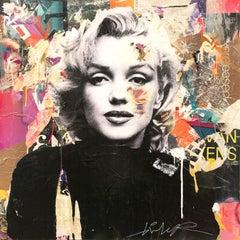 """I Defy Gravity"" Marilyn Monroe Portrait Pop Art Street Art Colorful Painting"