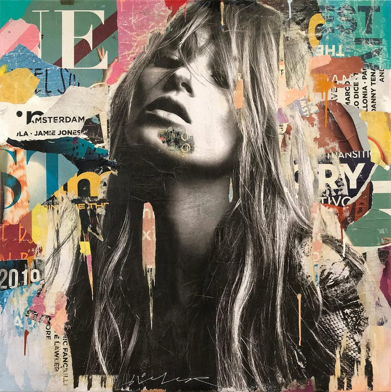 Gieler Figurative Painting - It's a Sin to Be Tired, Pop Art Portrait of Kate Moss