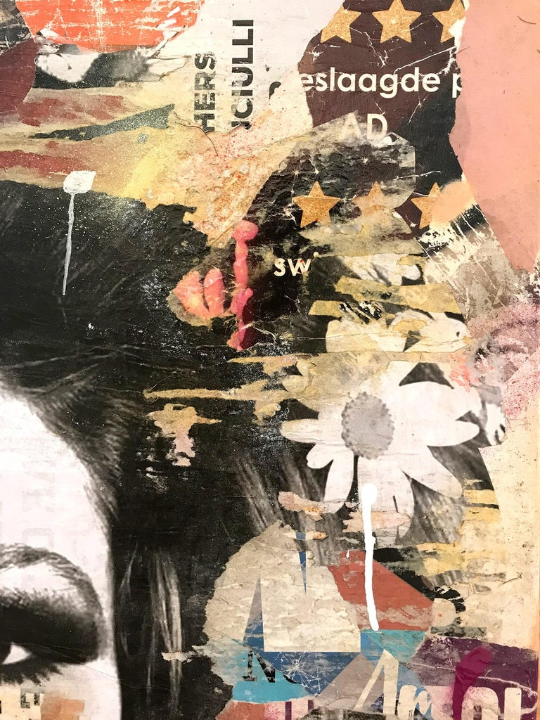This piece depicts famous French actress and model Brigitte Bardot. Done with beautiful expressive colors and a distinctive street art design, this piece pops with energy and a romantic beauty. Its composition and bold collage makes a wonderful