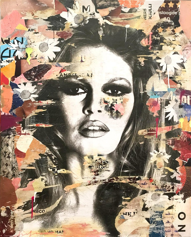 Gieler Abstract Painting - She's Your Friend, Pop Art Portrait of Brigitte Bardot
