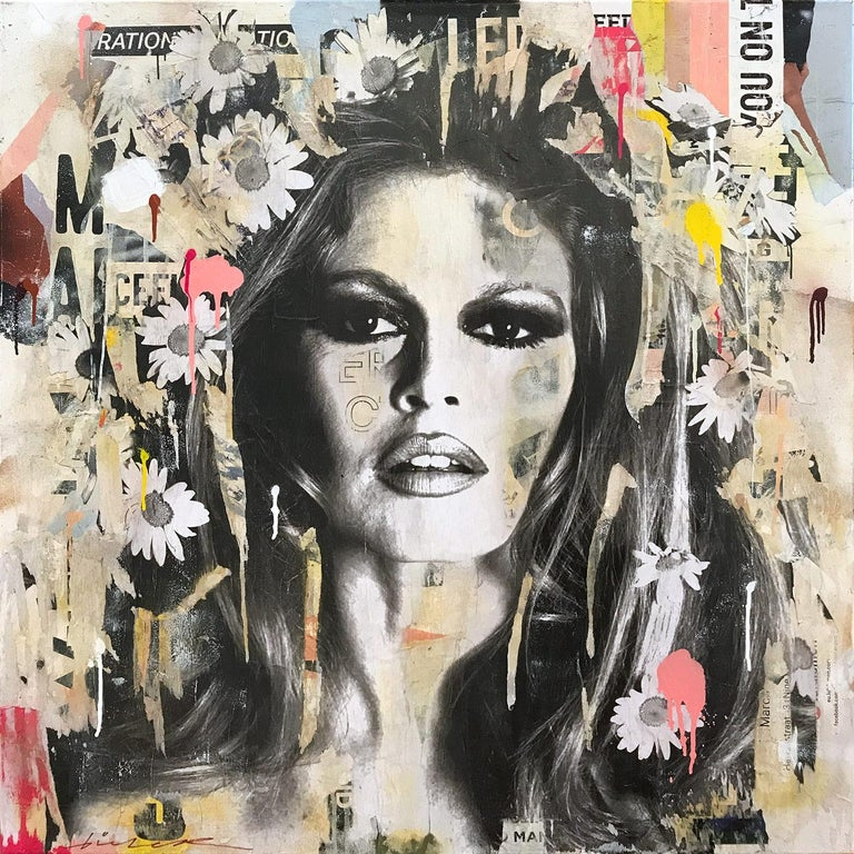 Gieler Figurative Painting - She's Your Friend, Pop Art Portrait of Brigitte Bardot