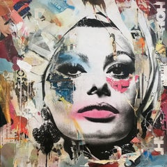 """Sophia Loren Portrait"" Pop Art Street Posters Décollage Painting on Canvas"