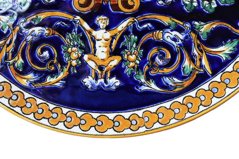 Renaissance Gien Faience Decorative Plate Hand Painted in Dark Blue and Yellow For Sale