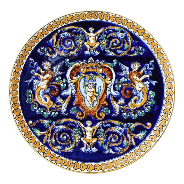 Gien Faience Decorative Plate Hand Painted in Dark Blue and Yellow For Sale