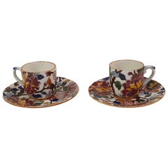 """Gien French Hand-Painted Faience """"Pivoines"""" Set of Two Coffee Cups and Saucers"""