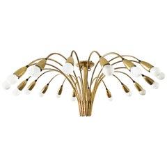 Gigant 18 reihiger Sputnik Kronleuchter, Decke Lampe Spider, Kaiser Leuchten, 1950er Jahre