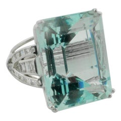 Gigantic 56.65 Carat Aquamarine and Diamond Ring in White Gold