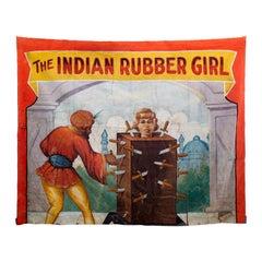 "Gigantic ""Rubber Girl"" Circus Banner, circa 1940s"